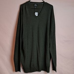 Jos. A. Bank Wool Green V Neck Sweater